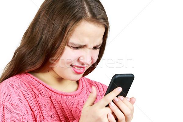 少女 見える 電話 美しい 若い女の子 幸せ ストックフォト © gregorydean