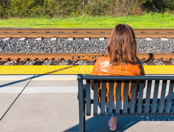 Lány ül vonat aranyos fiatal lány szem Stock fotó © gregorydean