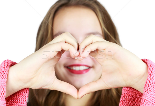 Genç kız işaret dili güzel kalp eller Stok fotoğraf © gregorydean