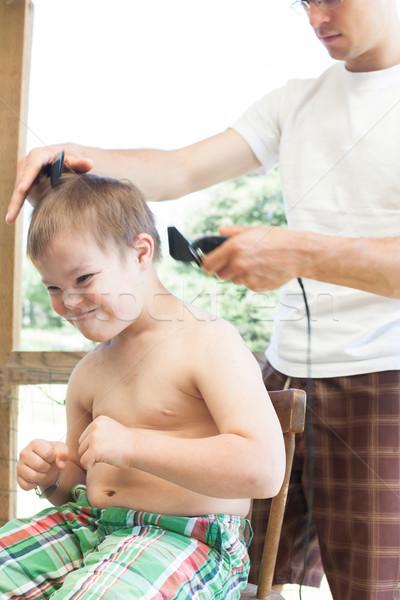 Weinig jongen syndroom kapsel cute familie Stockfoto © gregorydean