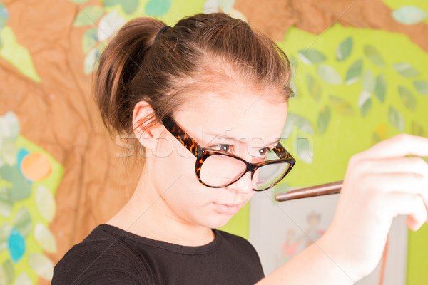若い女の子 絵筆 眼鏡 少女 手 ストックフォト © gregorydean