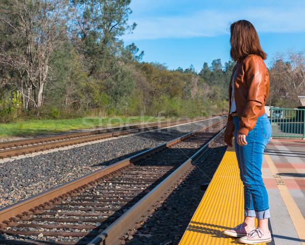 少女 立って 列車 かわいい 若い女の子 眼 ストックフォト © gregorydean