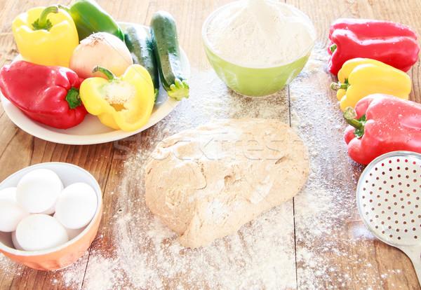料理 食品 卵 キッチン 表 緑 ストックフォト © gregorydean