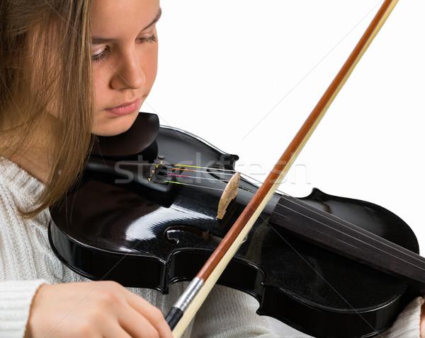 少女 弓 バイオリン 黒 髪 ストックフォト © gregorydean