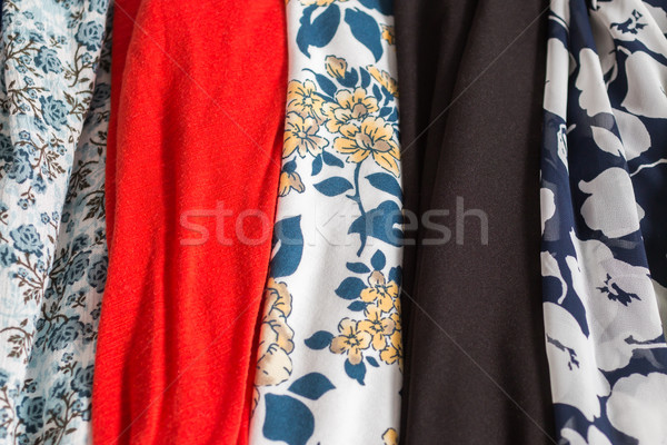 Many Colorfull Fabric Cloth Textures With Patterns Stock photo © gregorydean