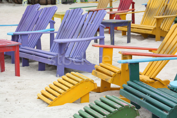 Colorful Chairs on the Beach Stock photo © grivet