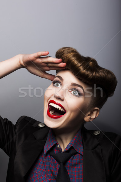 Amazing funny young woman in retro style - trendy hairstyle Stock photo © gromovataya