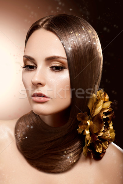 Woman with Beauty Long Brown Hair - Complexion and Coloring Stock photo © gromovataya