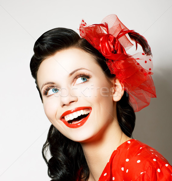 Vitality. Cheerful Young Woman with Red Bow enjoying. Pleasure Stock photo © gromovataya