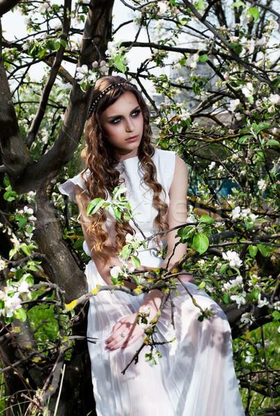 Virág virágzó természet csinos lány ül Stock fotó © gromovataya