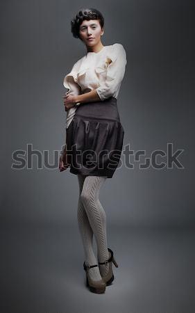 Lovely fashion model girl in retro black skirt, white shirt Stock photo © gromovataya