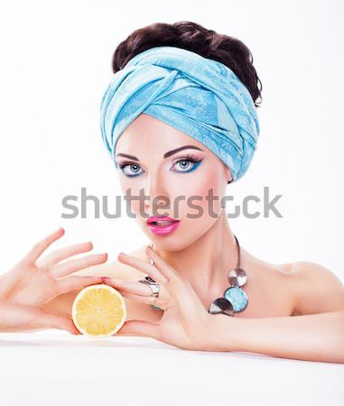 Attractive Woman with Apple - Healthy Wholesome Eating Concept Stock photo © gromovataya