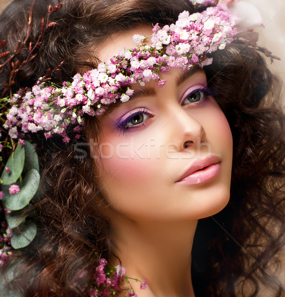 Closeup Portrait of Pretty Woman with Wreath of Pink Flowers. Natural Beauty Stock photo © gromovataya