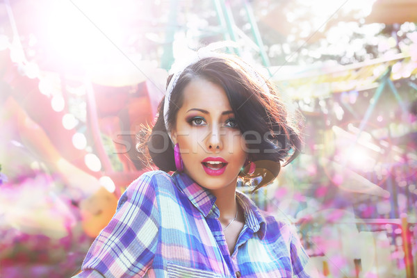 Excitement. Astonished and Amazed Woman's Face in Bokeh Stock photo © gromovataya