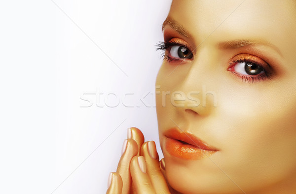 Close Up Portrait of Young Woman and Manicured Fingernails Stock photo © gromovataya