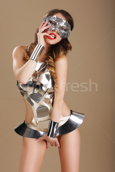 Expression. Voluptuous Woman Teaser in Stagy Costume Stock photo © gromovataya