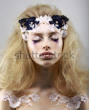 Gaze. Fantasy. Bright Image of Charming Purebred Trendy Woman Blond. Futurism Stock photo © gromovataya