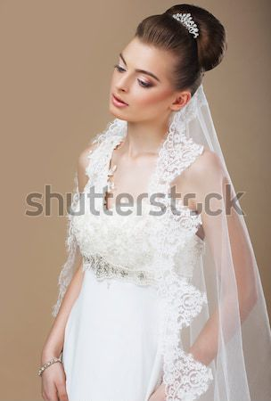 Young Romantic Newlywed with White Veil in Reverie Stock photo © gromovataya