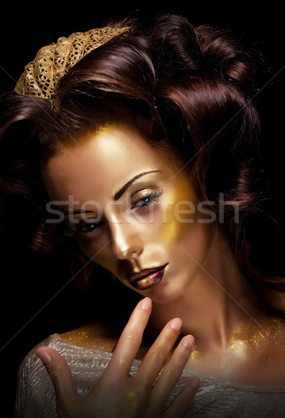 Theater. Actress acting - bright golden makeup Stock photo © gromovataya