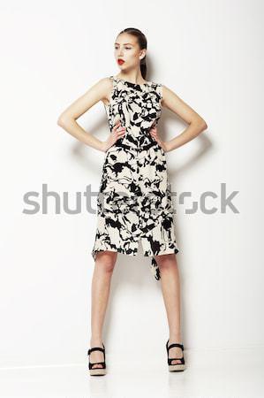 Színpadi stílus pompás színésznő pózol színház Stock fotó © gromovataya