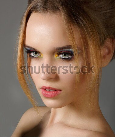 Sentiment. Profile of Independent Stylish Woman with Shiny Eye Makeup Stock photo © gromovataya