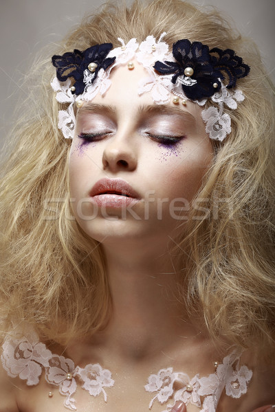 Imagination. Tranquility. Portrait Dreaming Teen Girl with Fantastic Makeup Stock photo © gromovataya