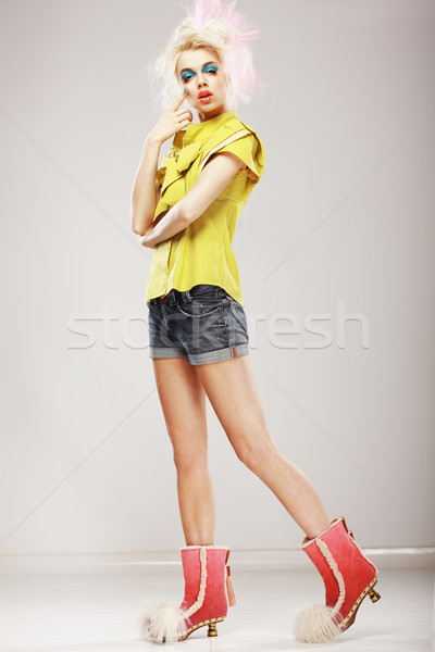 Stylishness. Ultramodern Fashion Model in Trendy Clothes. Individuality Stock photo © gromovataya