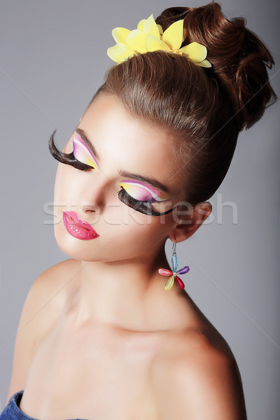 Phantasy. Spectacular Fashionable Woman with Dramatic Stage Makeup. Glam Stock photo © gromovataya