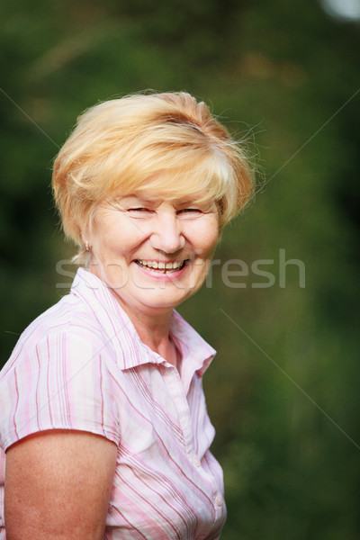 Expression & Positive Emotions. Amiable Old Woman with Beaming Toothy Smile Stock photo © gromovataya