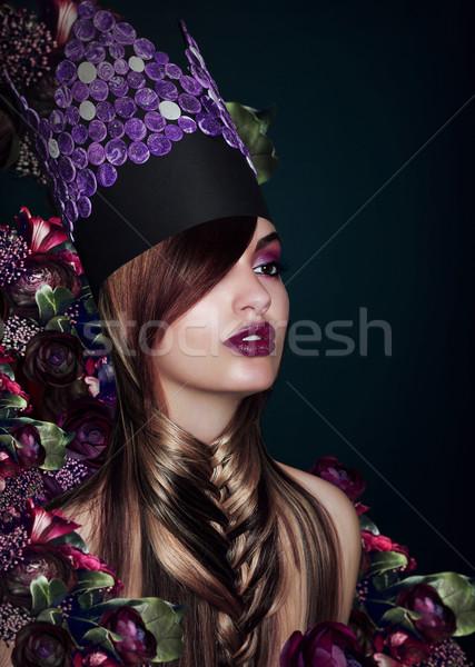 Divat modell színpadi színes kalap nő Stock fotó © gromovataya