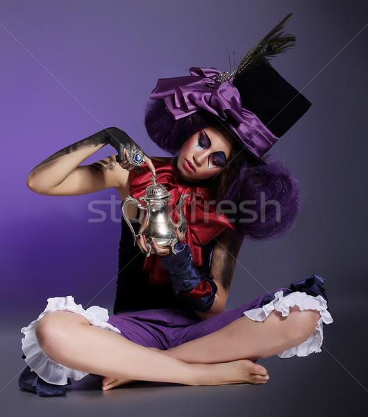 Előadás ül henger kalap íj csomó Stock fotó © gromovataya