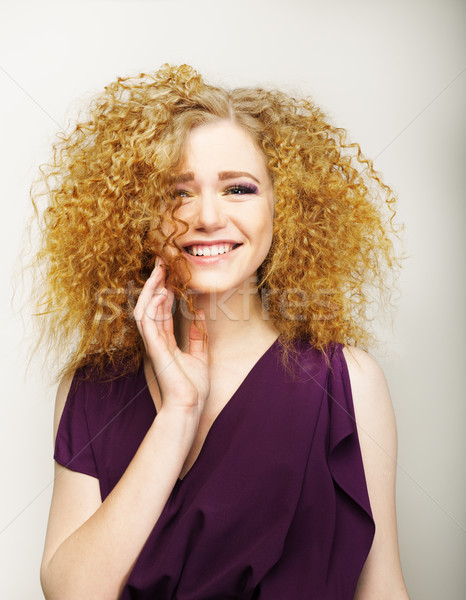 Pleasure. Happy Face of Frizzy Redhead Woman. Joy Stock photo © gromovataya