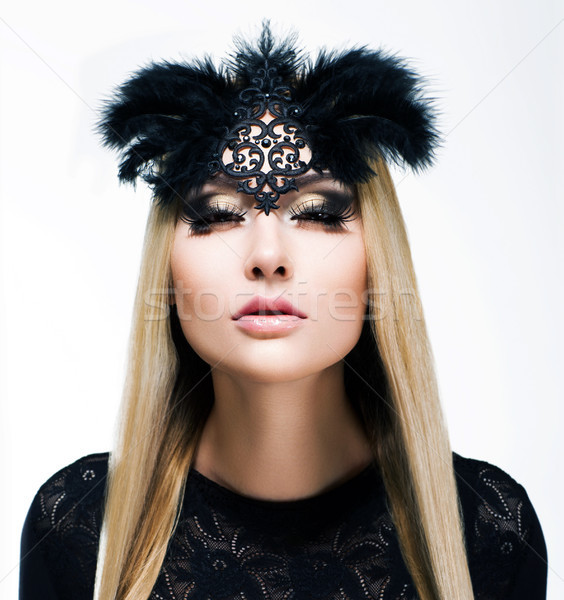 Charm. Delightful Blond Hair Woman with Plaits and Black Mask. Refinement Stock photo © gromovataya