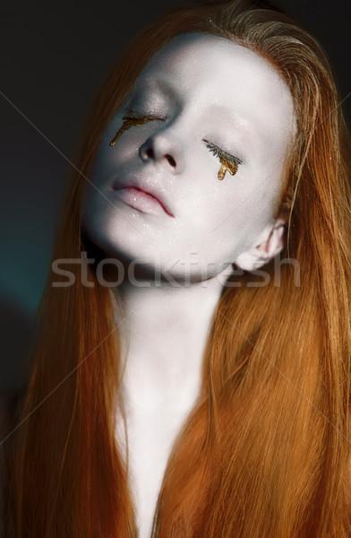 Sonhador cara criador prata make-up art noveau Foto stock © gromovataya