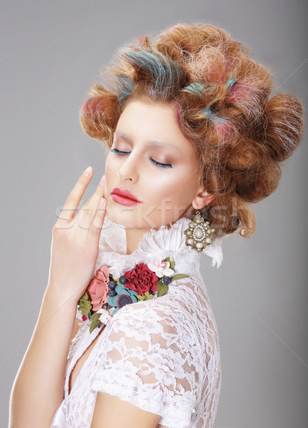 Fantasy. Woman with Creative Makeup and Dyed Hairs Stock photo © gromovataya