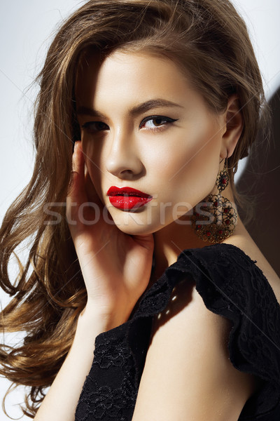 Charisma. Gorgeous Aristocratic Woman with Red Lips Stock photo © gromovataya