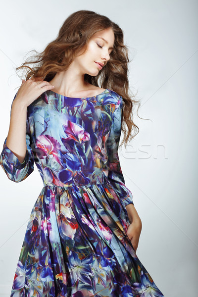 Simplicity. Young Snazzy Woman in Light Blue Dress Stock photo © gromovataya