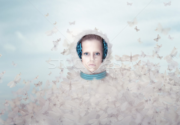 Fantasy. Futuristic Woman with Flying Butterflies Stock photo © gromovataya