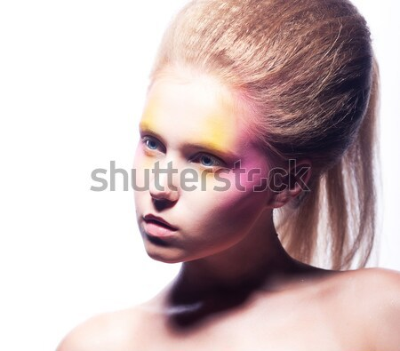 Portrait of Spider-Girl Fashion Model with Poisonous Spider on her Face Stock photo © gromovataya