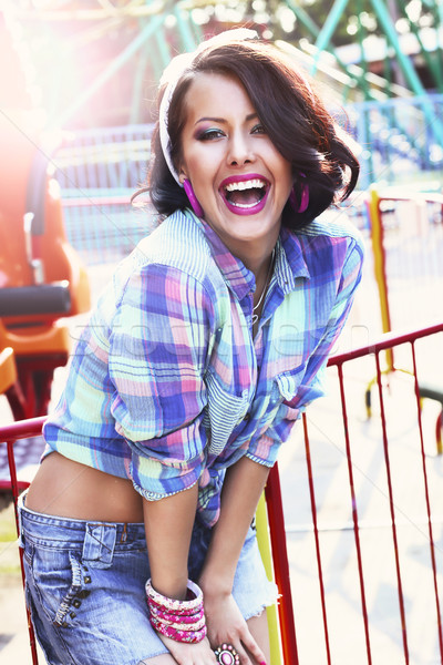Enjoyment. Gladness. Expressive Woman in Checkered Shirt with Toothy Smile Stock photo © gromovataya