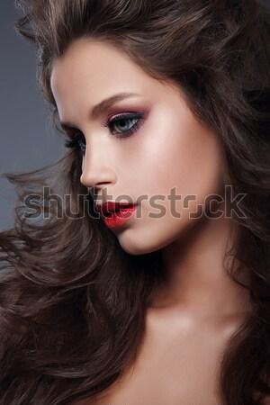 Mulher sexy longo ventoso cabelo castanho make-up mulher Foto stock © gromovataya