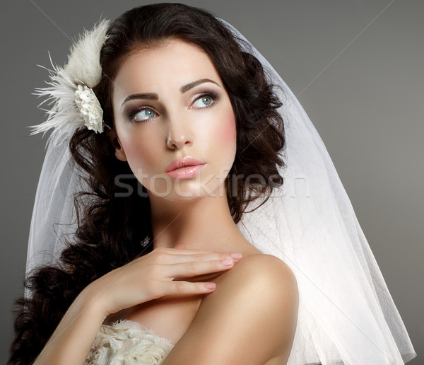 Wedding. Young Gentle Quiet Bride in Classic White Veil Looking Away Stock photo © gromovataya