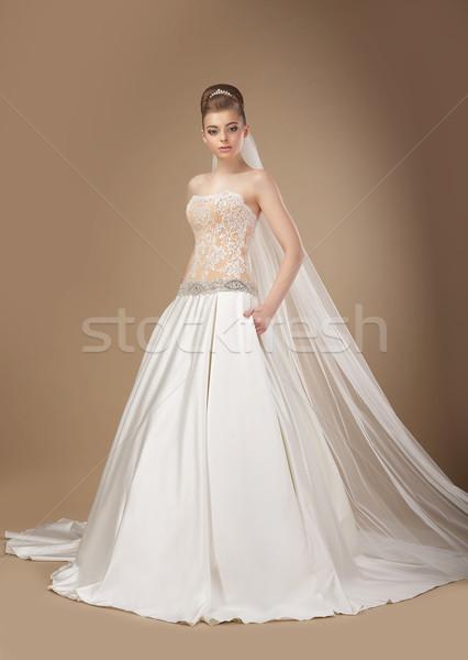 Wyrafinowany kobieta długo elegancki sukienka Zdjęcia stock © gromovataya