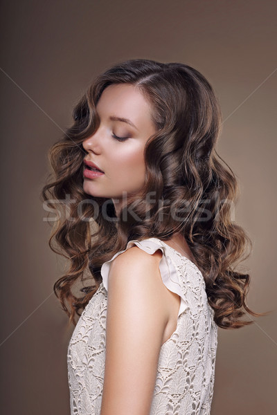 Studio Portrait of Young Dreamy Brunette with Closed Eyes Stock photo © gromovataya