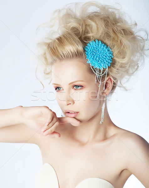 Purity - fashion woman with blue brooch in hairs Stock photo © gromovataya