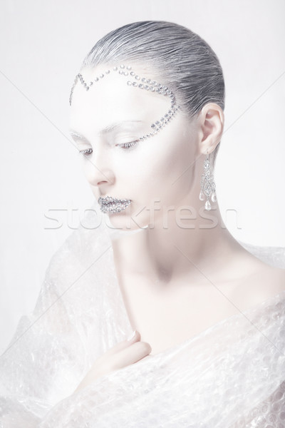 Muse. Theatrical Style. Profile of Woman Face - Creative Carnival Makeup Stock photo © gromovataya