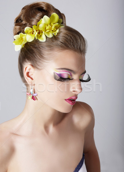 Woman's Face with Bright Trendy Eye Makeup.  Long False Eyelashes Stock photo © gromovataya