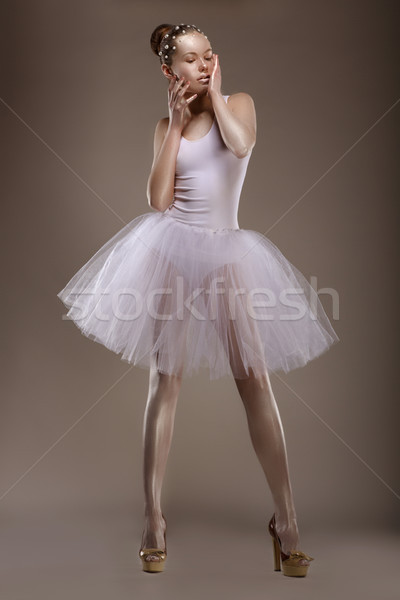 Charming Woman in White Tutu with Pearly Beads over Grey. Ballet Stock photo © gromovataya
