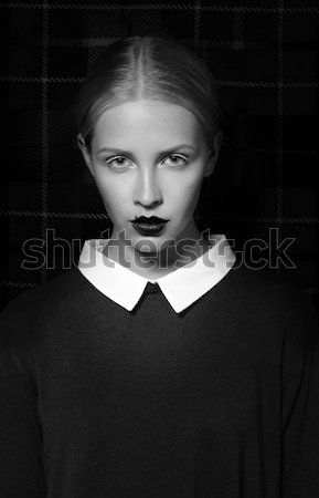 Glam. Attractive Female Hipster in Shadows posing Stock photo © gromovataya