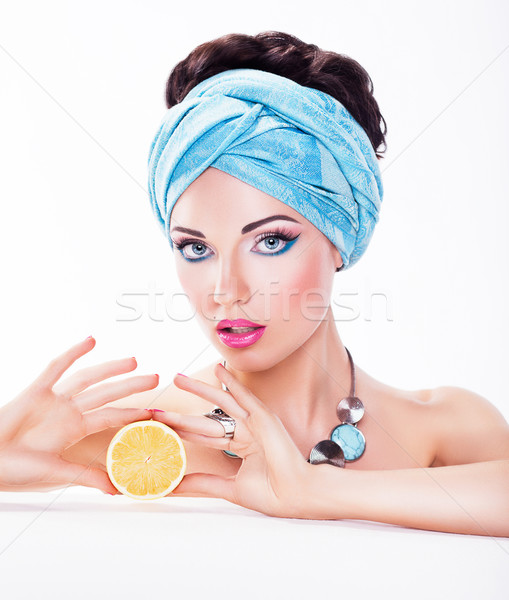 Tasty Woman Holding a Juicy Fruit - Diet and Calories concept Stock photo © gromovataya